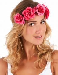 Rosa blomkrans till sommarfesten för vuxna