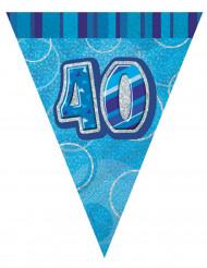 Girland med blåa vimplar 40 år