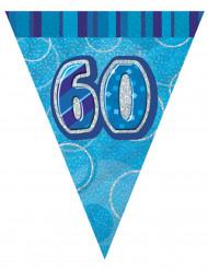 60 år Girland med blåa vimplar 2,74 cm