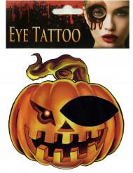 Ögontatuering i form av pumpa - Halloweensminkning
