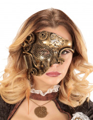 Gyllene halvmask i Steampunk-stil för vuxna