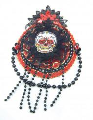 Dia de los Muertos - Liten hatt i svart och rött till maskeraden