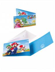 8 Super Mario™ inbjudningskort med kuvert