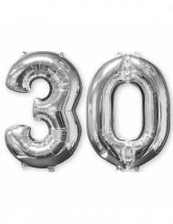 30-år - 2 silverfärgade aluminiumballonger