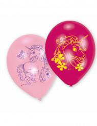 6 blåa och rosa ballonger med tryck av enhörning