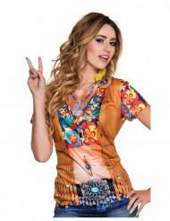 T-shirt med hippie-tryck för vuxna