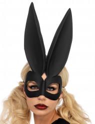 Svart kaninmask med stora öron - Maskeradmask för vuxna