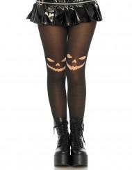 Svarta strumpbyxor med pumpagrin - Halloweendekor