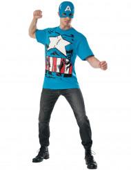 Captain America™ t-shirt och mask - Maskeraddräkt för vuxna