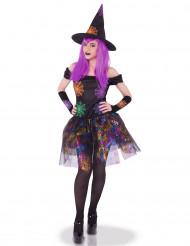 Pigg mångfärgad häxdräkt - Halloweenkostym för vuxna 9bdffbfa3bd69
