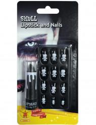 Dödskalle - Sminkkit med naglar och läppstift till Halloween