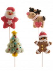 4 julmarsmallows att sticka i kakan - Julpynt