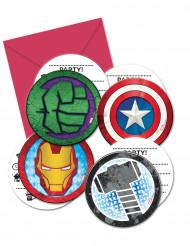 6 Inbjudningskort med kuvert Avengers Mighty™