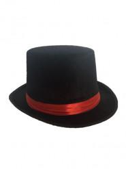 Cylinderhatt med rött band - Hattar till maskeraden för vuxna