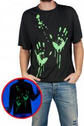 T-shirt med självlysande tryck av blodiga händer till Halloween