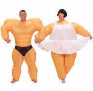 Ballerina och Bodybuilder - Uppblåsbar pardräkt för vuxna