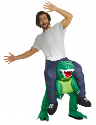 Rider på en T-rex - Carry me-dräkt för vuxna