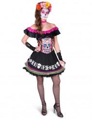 Färggrann Dia de los Muertos-klänning för vuxna