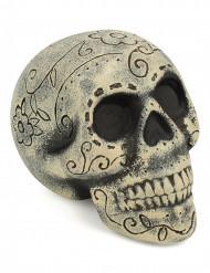 Vacker skalle inristad med blommor - Halloweendekoration
