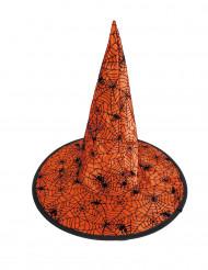 Orange med spindelnät - Häxhatt för till Halloween