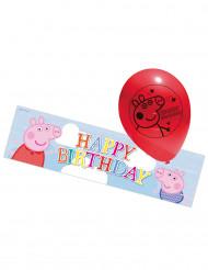 5 latex ballonger från Greta Gris™ med banderoll i aluminium