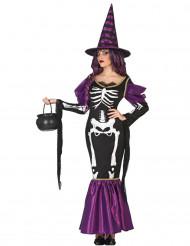 Violett häxklänning med skelettryck till Halloween