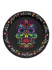 Dia de los Muertos - 6 små kartongtallrikar till Halloween 17 cm