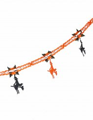 Orange pappersgirlang med svarta häxor till Halloween