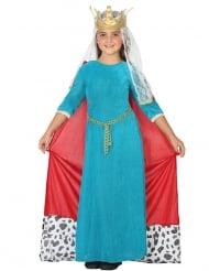 Blå medeltidsdrottning barndräkt