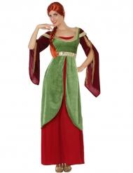 Medeltida maskeradklänning i rött och grönt