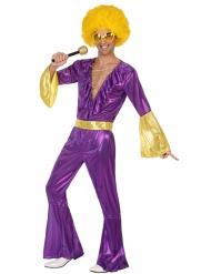 Holografisk discodräkt i lila och guld för vuxna