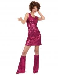 Fuchsiafärgad discodräkt för vuxna med benvärmare