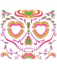 Dia de los Muertos ansiktstatuering i rosa till Halloween
