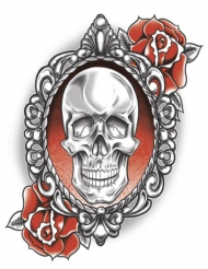 Fejk tatuering för vuxna med dödskalleporträtt och rosor