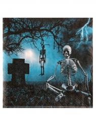 10 servetter med tryck av gravgård - Halloweendukning
