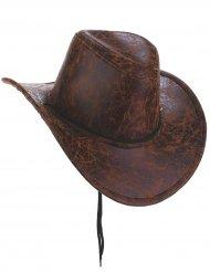 Cowboyhatt i läderimitation för vuxna