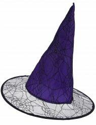 Violett häxhatt med spindelväv för vuxna till Halloween