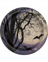 Små Halloweentallrikar med fullmåne och fladdermus 18 cm