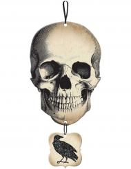 Skylt med kranium och korp - Halloweendekoration