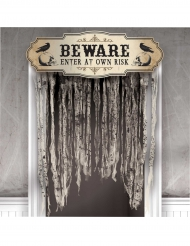 Beware enter at own risk - Dörrdekoration till Halloween