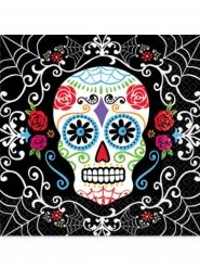 20 Dia de los Muertos-servetter till Halloween