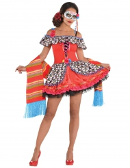 Pigg Dia de los Muertos-dräkt till Halloween för vuxna