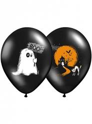6 svarta ballonger med vackert tryck till Halloween