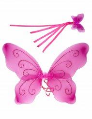 Rosa fjärilsvingar och en trollstav för barn