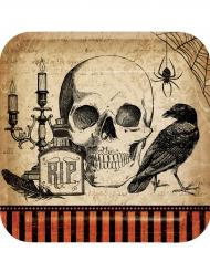 8 Tallrikar med korp och kranium - Halloweendukning