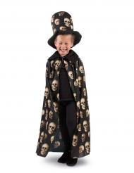 Cylinderhatt och mantel med dödskallar för barn till Halloween