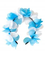 Blått och vitt blomdiadem till festen