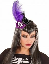 Minihatt med fjäder skelett och rosor - Halloweenhatt för vuxna