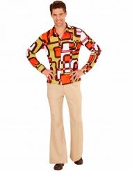 Groovig 70-tasskjorta med geometriskt mönster för vuxna