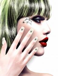 Vita s lösnaglar med spindlar - Halloweensmink